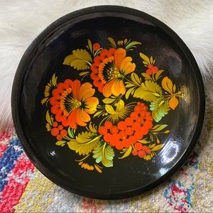 Vintage Hand Painted Floral Wooden Bowl Art Flower